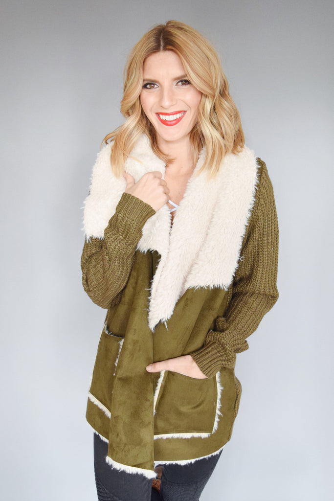 Trendy faux shearling knit jacket