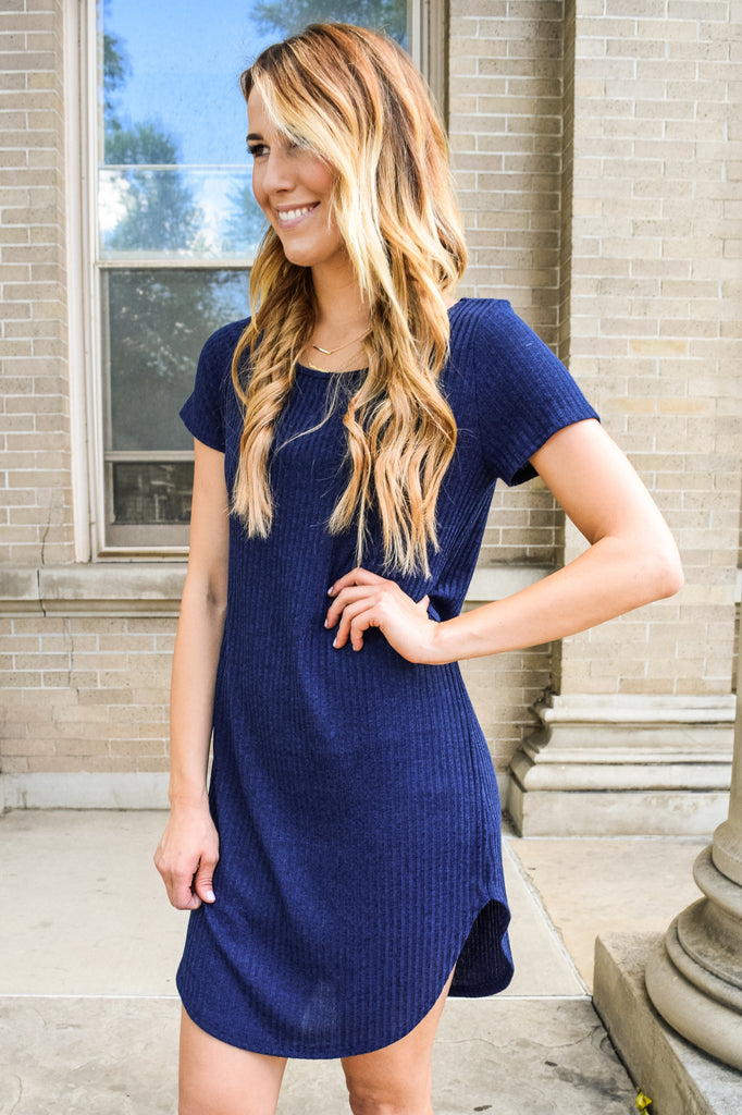 Affordable navy ribbed dress
