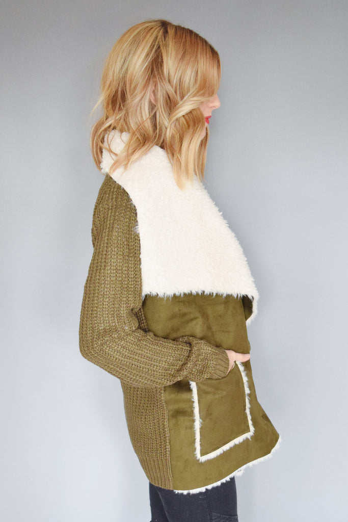 Womens Online faux shearling knit jacket