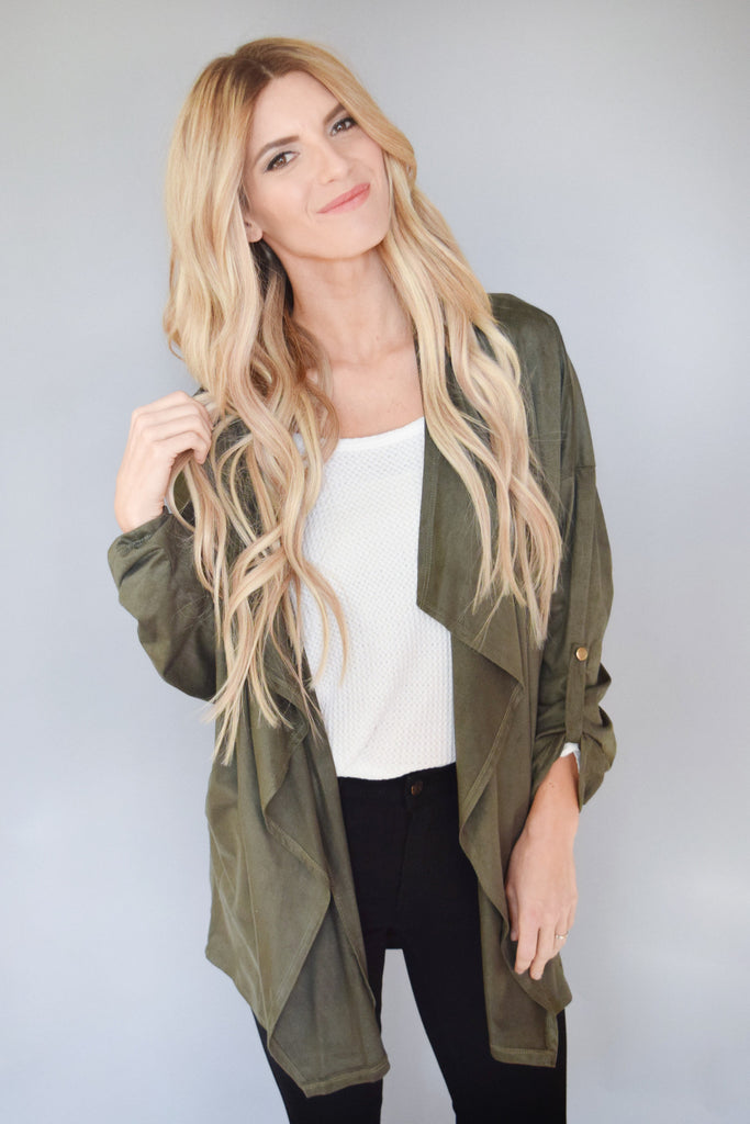 Womens Boutique waterfall open jacket olive