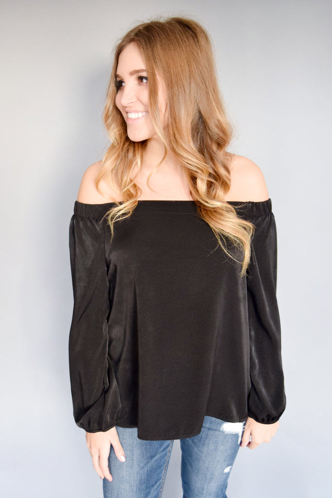 Cute Satin Off The Shoulder Top Black