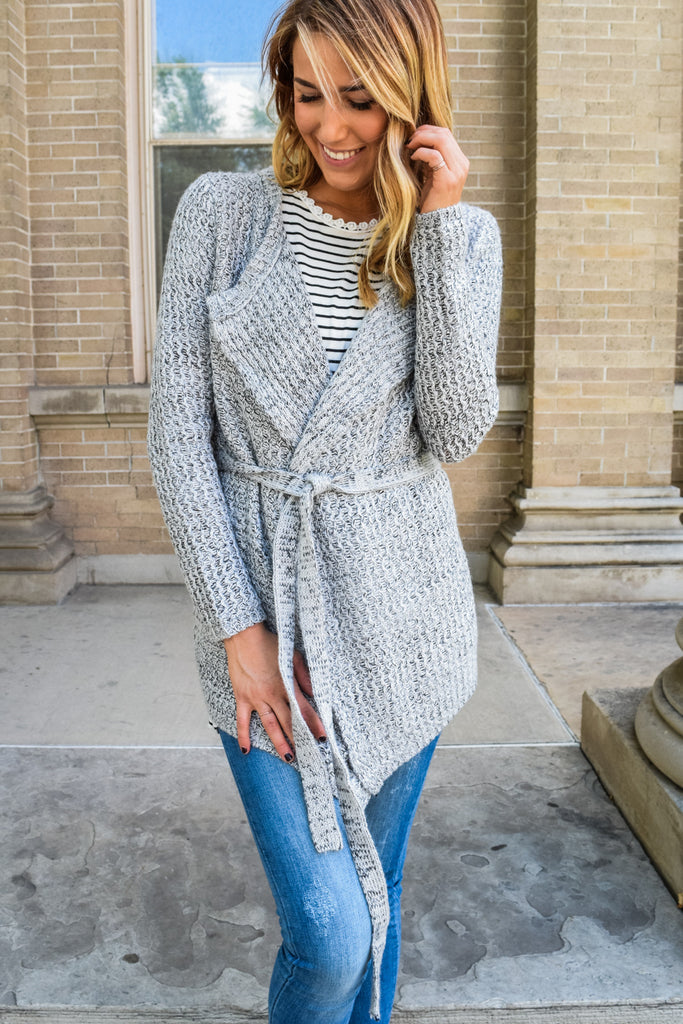 Affordable Online waterfall wrap cardigan grey