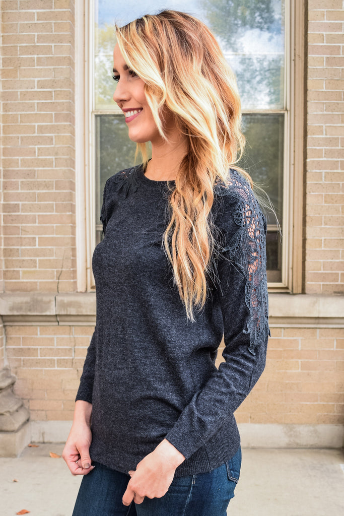Chic evening smores charcoal sweater