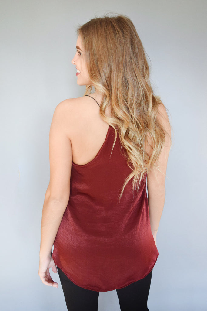 Womens Online holiday party satin tank