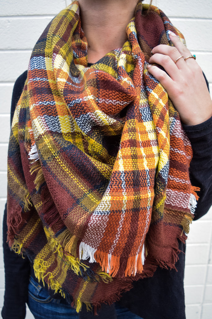Womens Boutique Rocky Mountain Plaid Scarf Brown