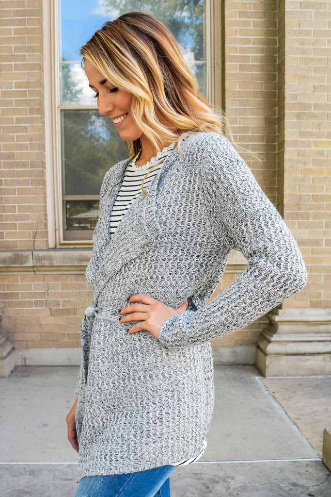 Trendy Online Waterfall Wrap Cardigan Grey
