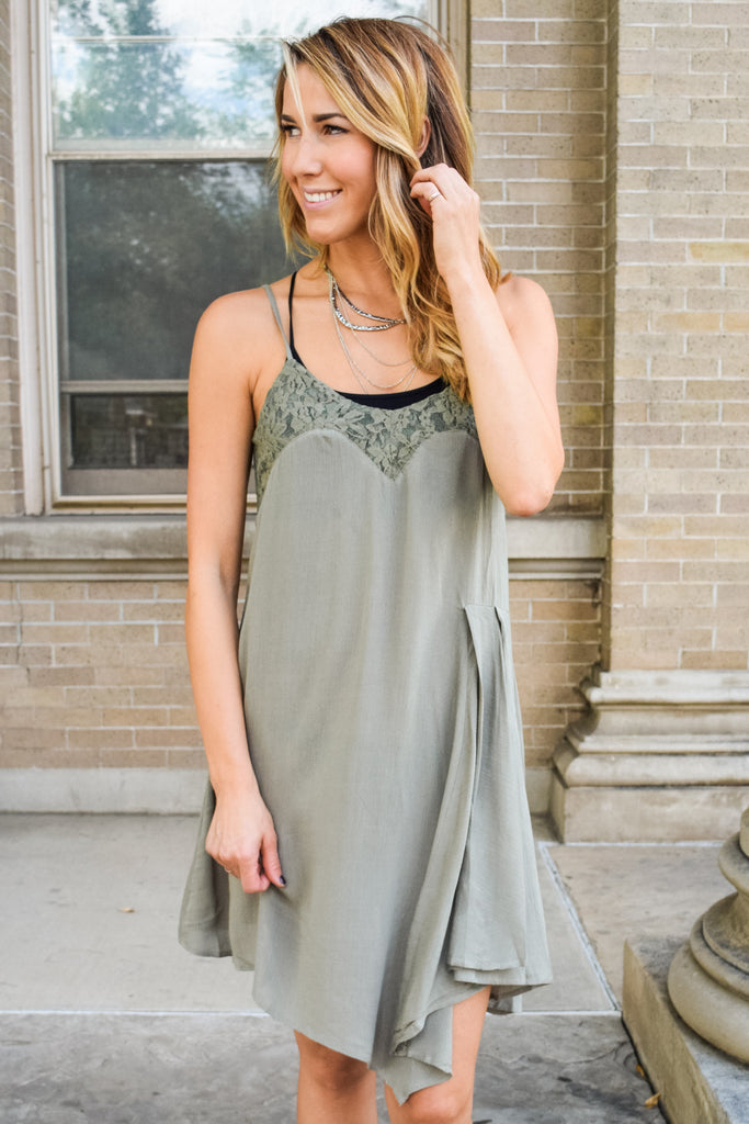 Cute Sage Garden Slip Dress