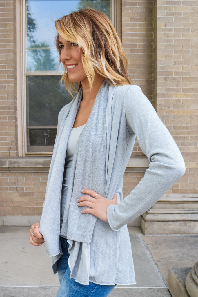 Cute Warm Sherpa Cardigan Heather Grey