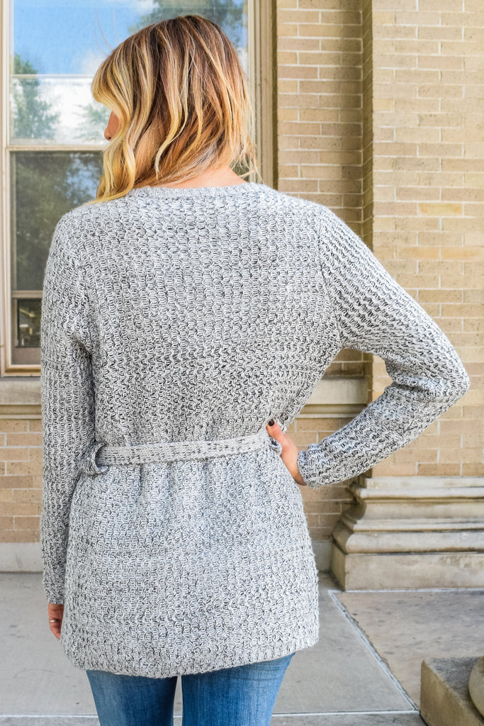 Chic waterfall wrap cardigan grey