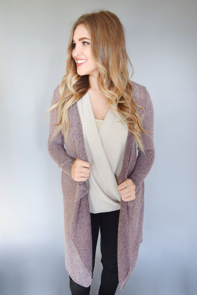 Chic Winter Snow Woven Cardigan Plum
