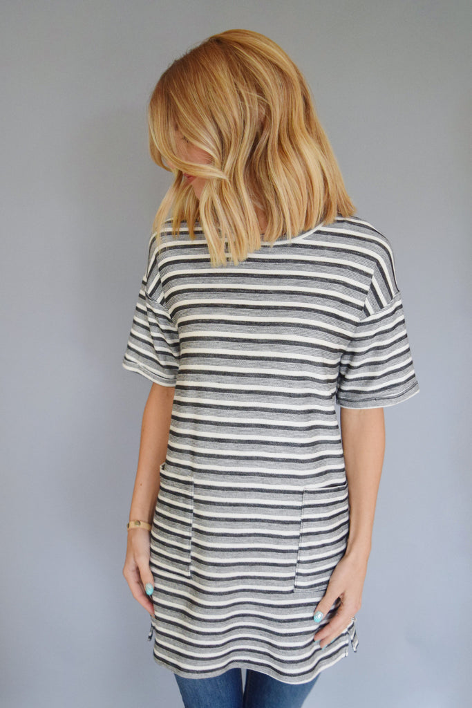 Affordable french terry stipe tunic
