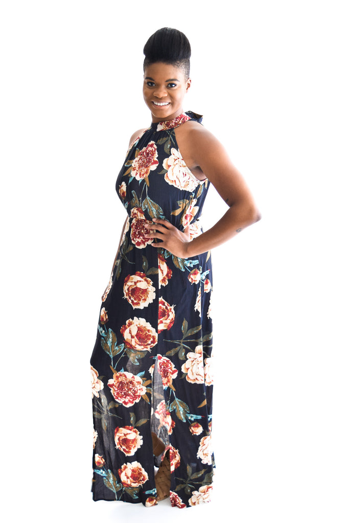 Diamond Head Floral Maxi In Navy