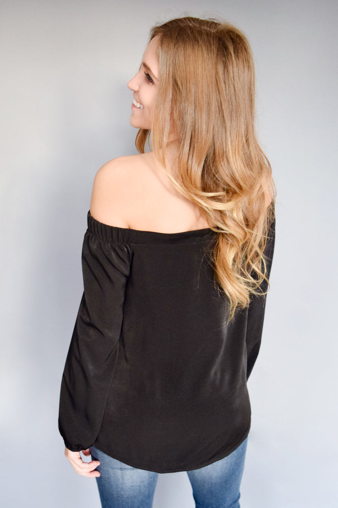 Affordable Online satin off the shoulder top black