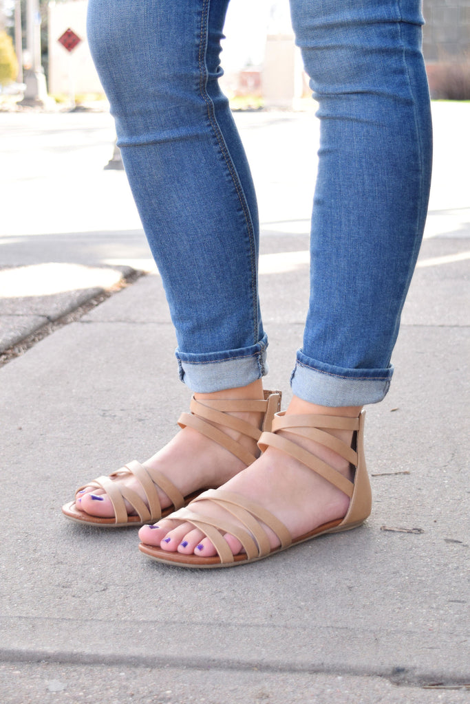 Chic Woodstock Strappy Sandals Taupe