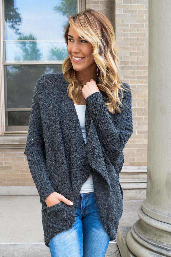 Trendy lounging around cardigan charcoal