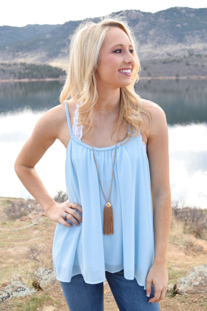 Cute Laurel Braided Strap Tank Blue