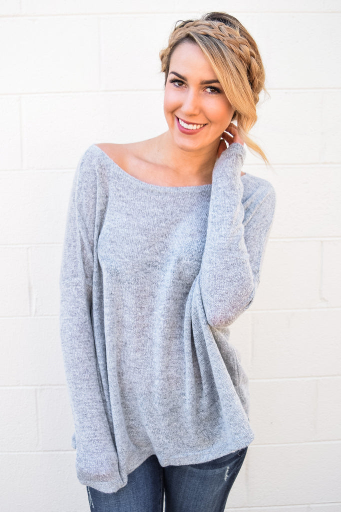 Affordable Online Simple and Soft Sweater Heather Grey