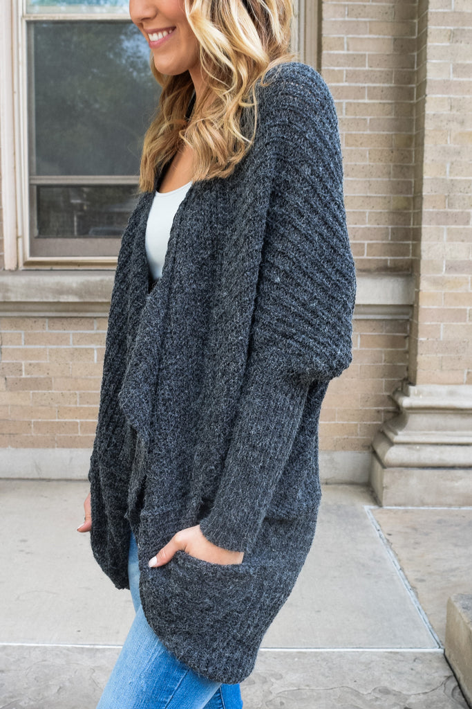 Womens Online lounging around cardigan charcoal