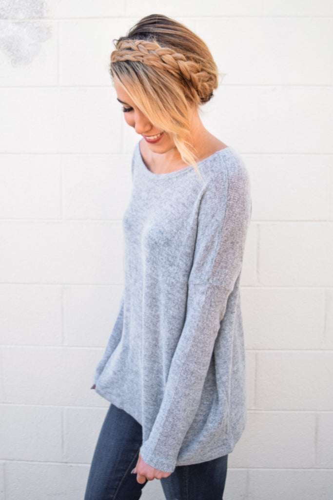 Chic simple and soft sweater heather grey