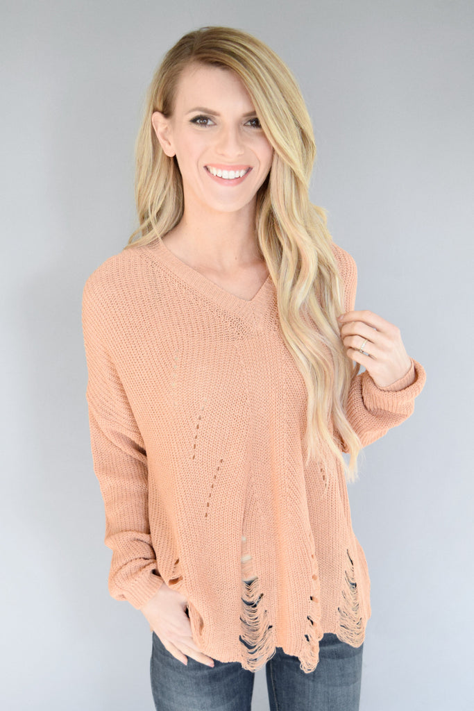 Lana Distressed Sweater Peach