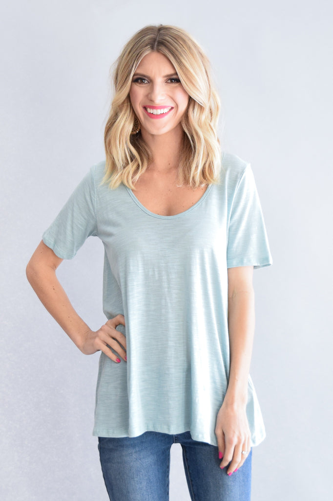 Rock Ledge Blue Cutout Tee