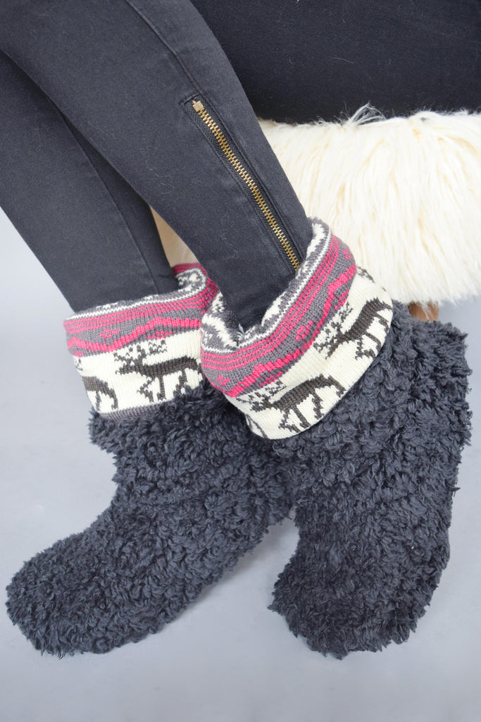 Affordable Online Microfiber Slipper Boots Charcoal
