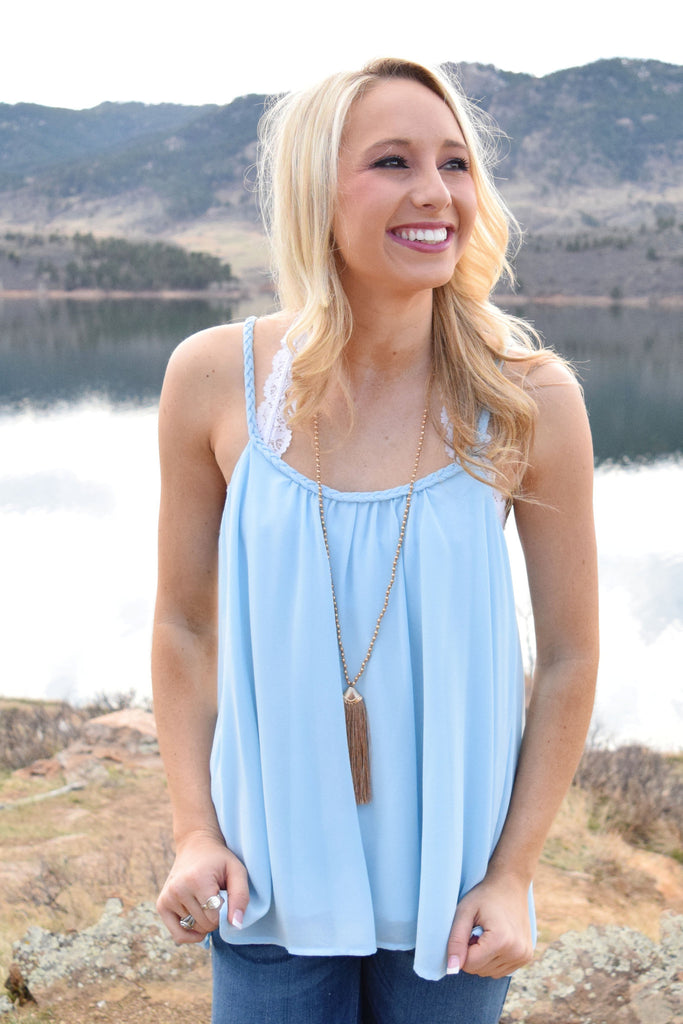 Trendy Online laurel braided strap tank blue