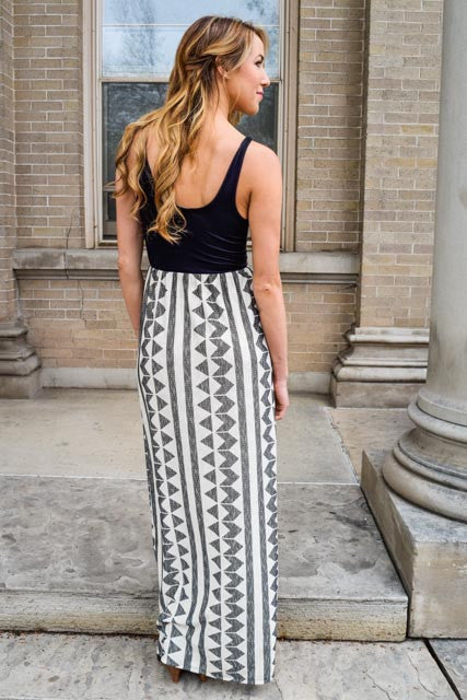 Affordable gathering with the girls black ivory maxi dress