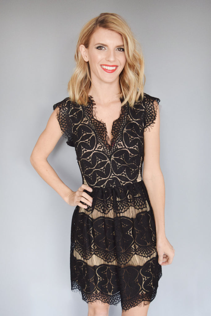 Affordable Gold Dust Lace Flare Dress