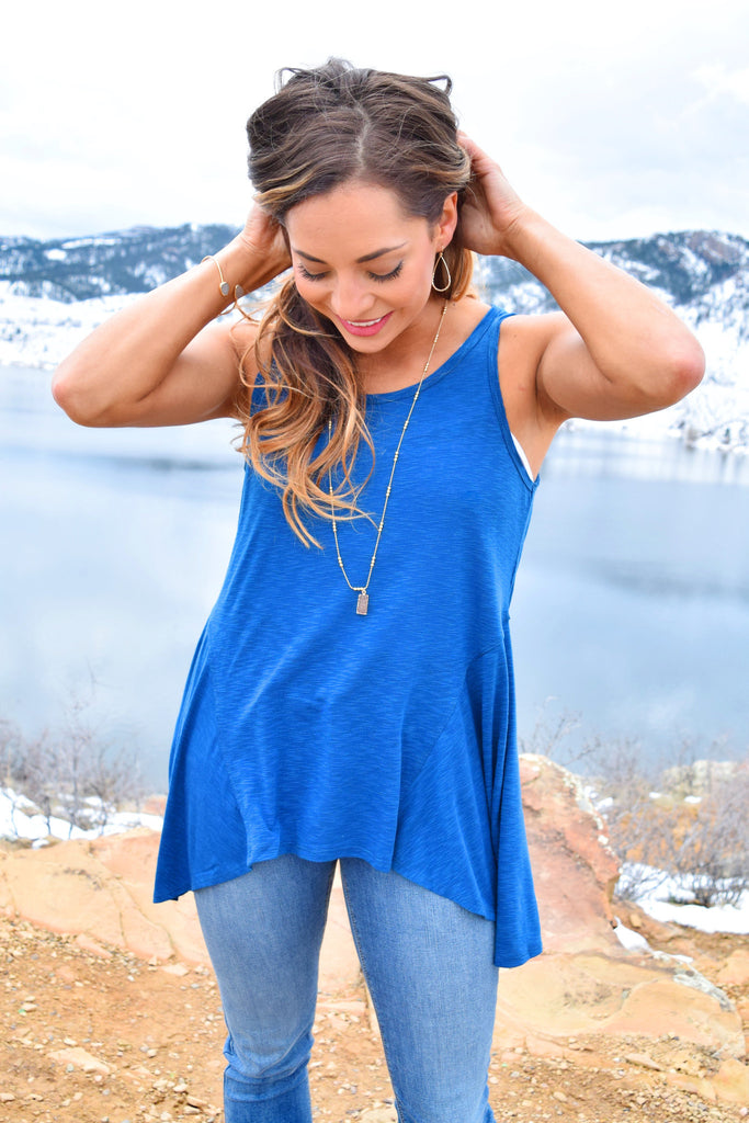 Chic Three Peaks Swing Tank Blue