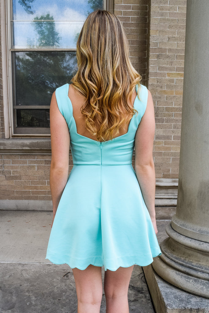 Trendy mint scalloped dress