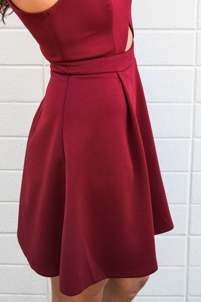 Chic holiday ready burgundy dress
