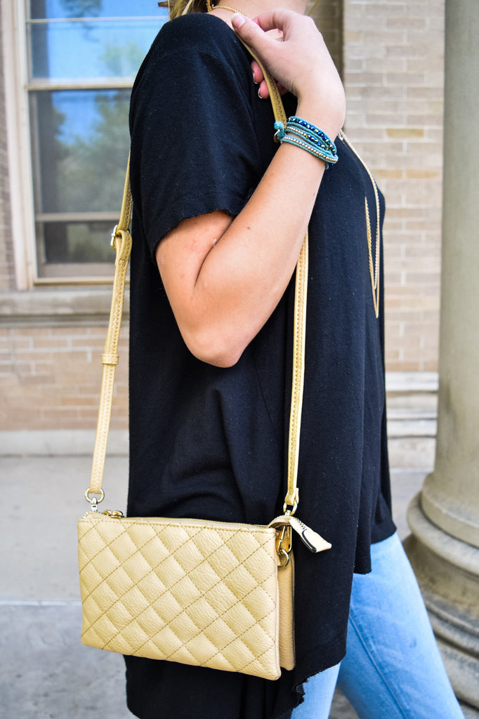 Colorado Chic Quilted Beige Clutch