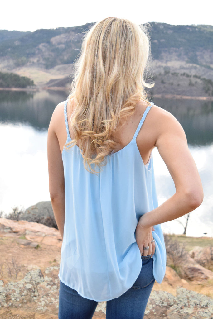 Cute Online laurel braided strap tank blue
