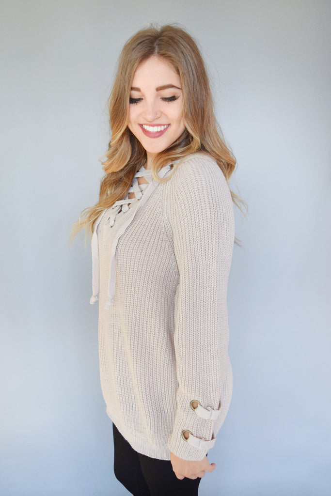 Affordable Online evergreen lace up sweater stone