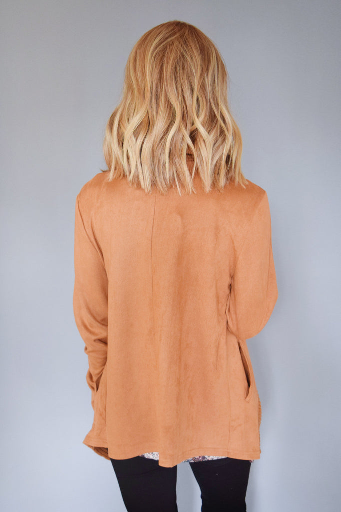Womens Boutique faux suede waterfall cardigan
