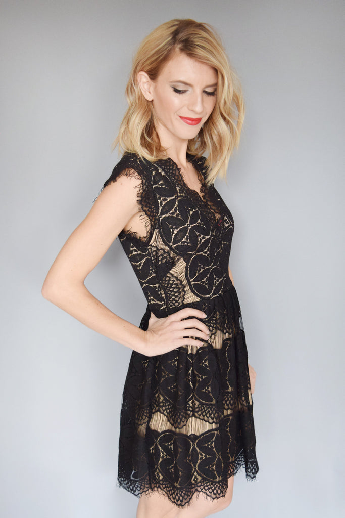 Womens Online gold dust lace flare dress