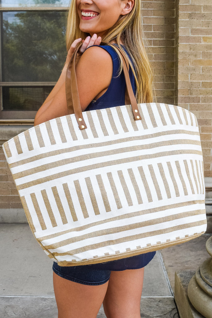 Trendy Online Natural Print Tote Stipe