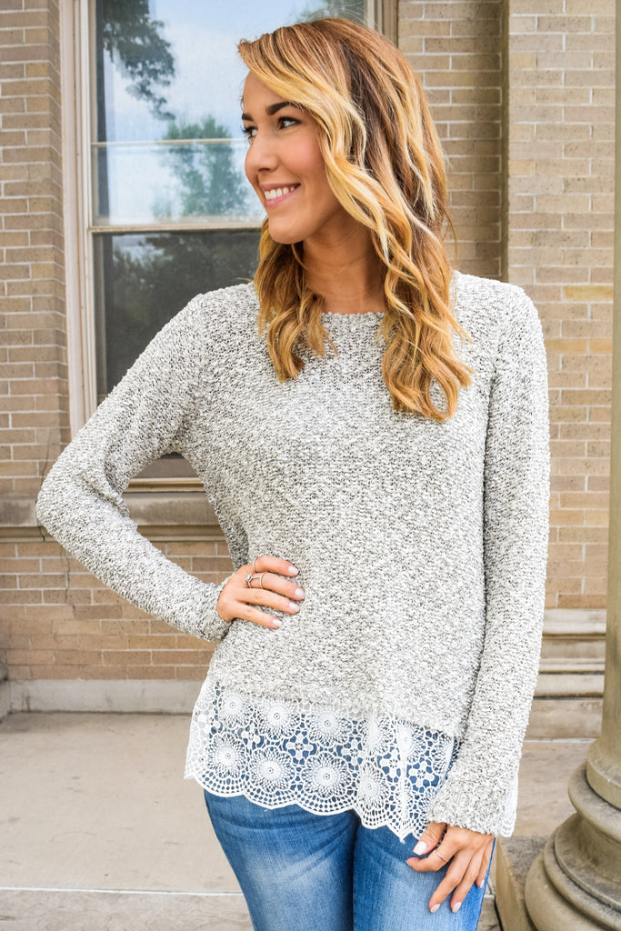 Womens Online Layered Lace Sweater