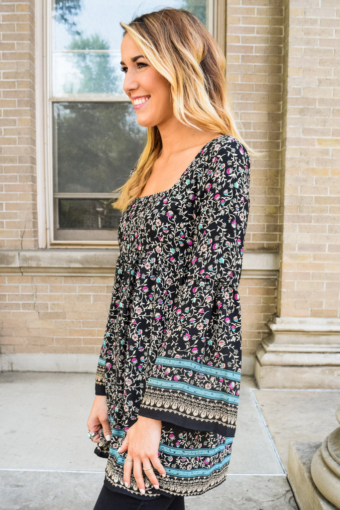 Chic Mediterranean Tapestry Babydoll Tunic