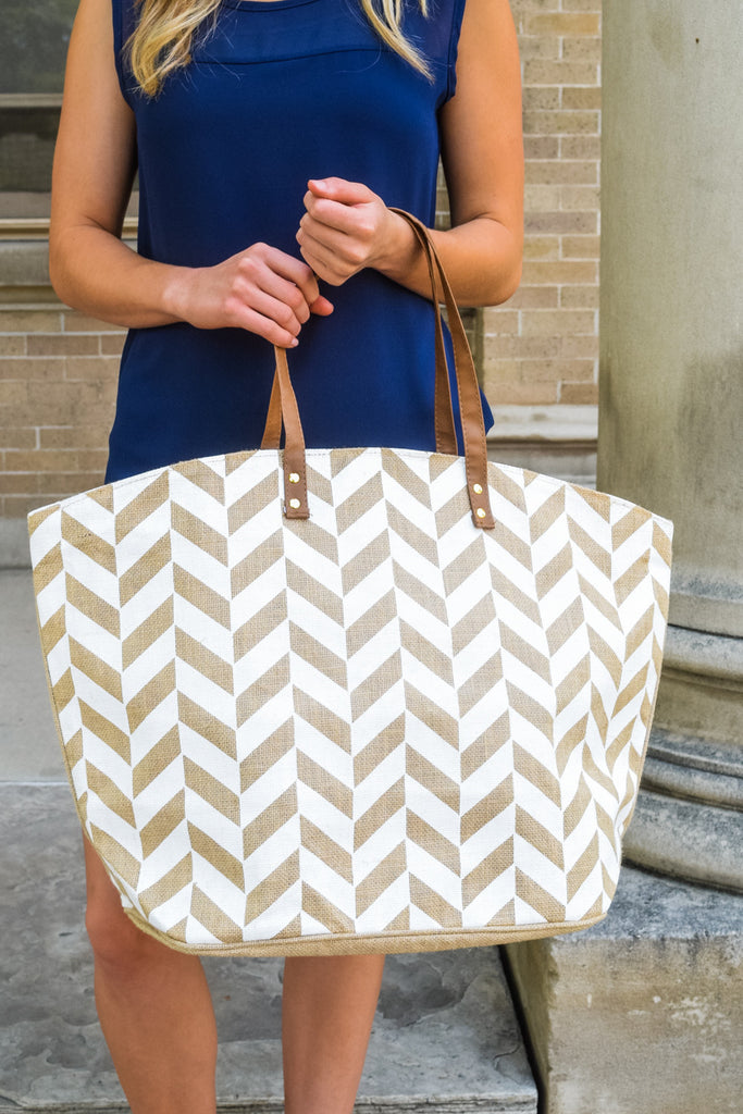 Affordable Online Natural Print Tote Chevron