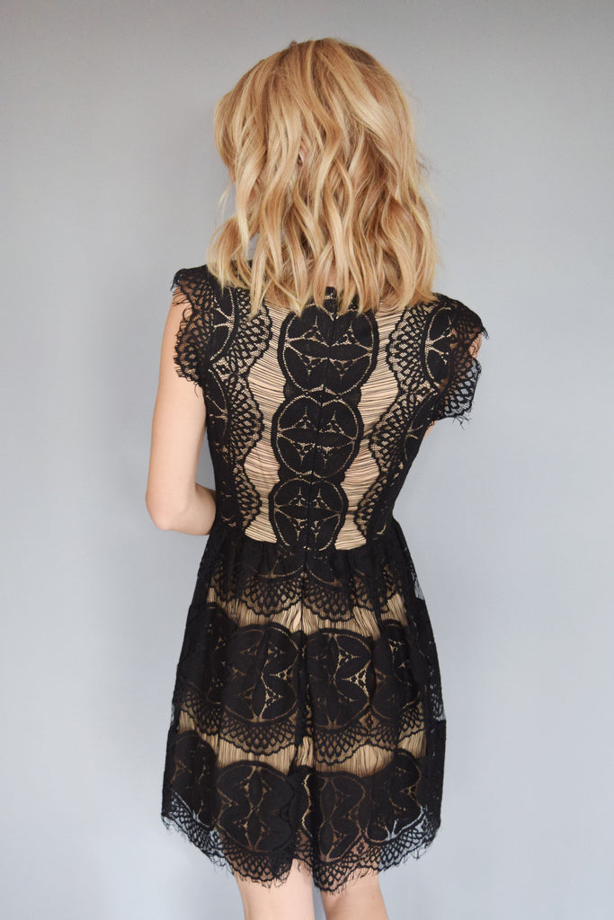 Cute gold dust lace flare dress