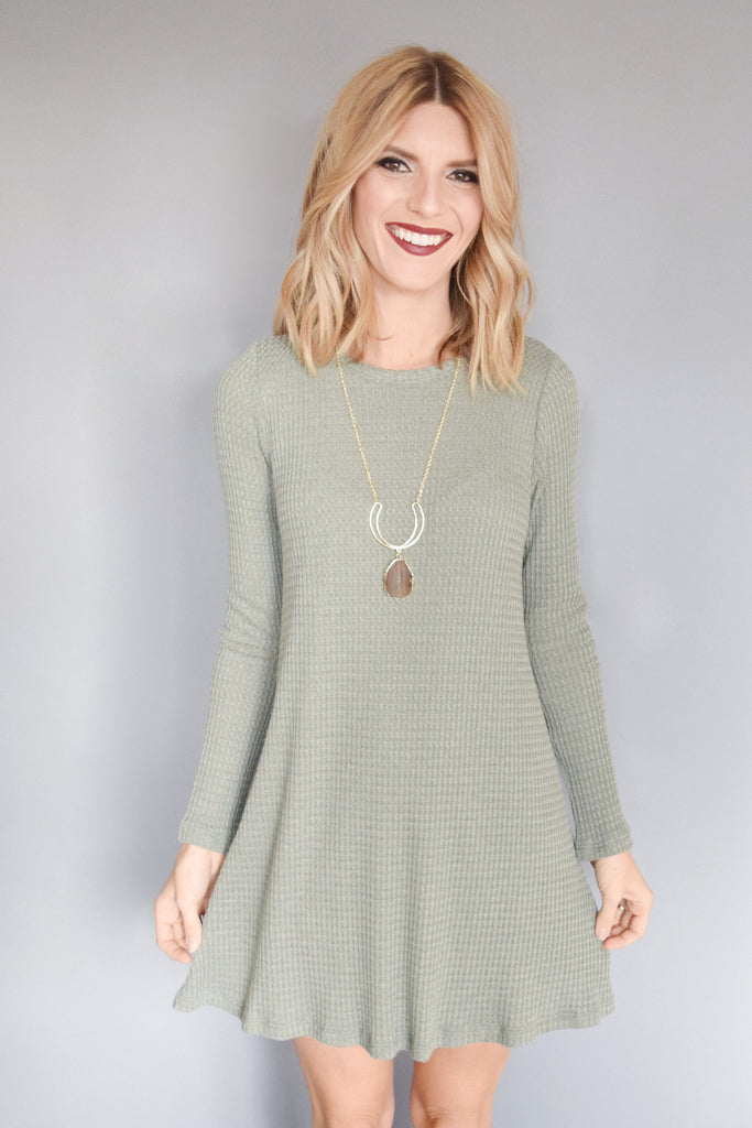 Womens Online Snow Day Thermal Dress Dusty Sage