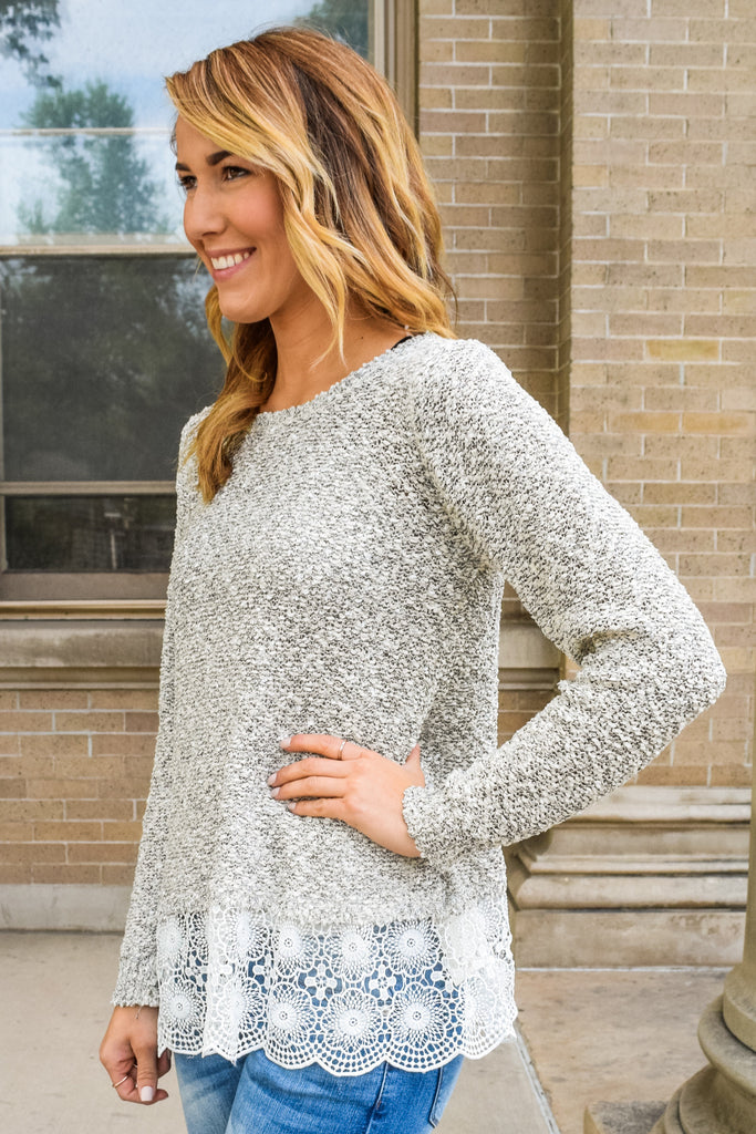 Cute Online layered lace sweater