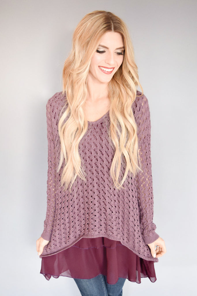 Womens Clothing Woven Chiffon Hem Sweater Plum
