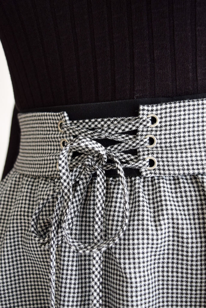 Gingham Lace Up Skirt