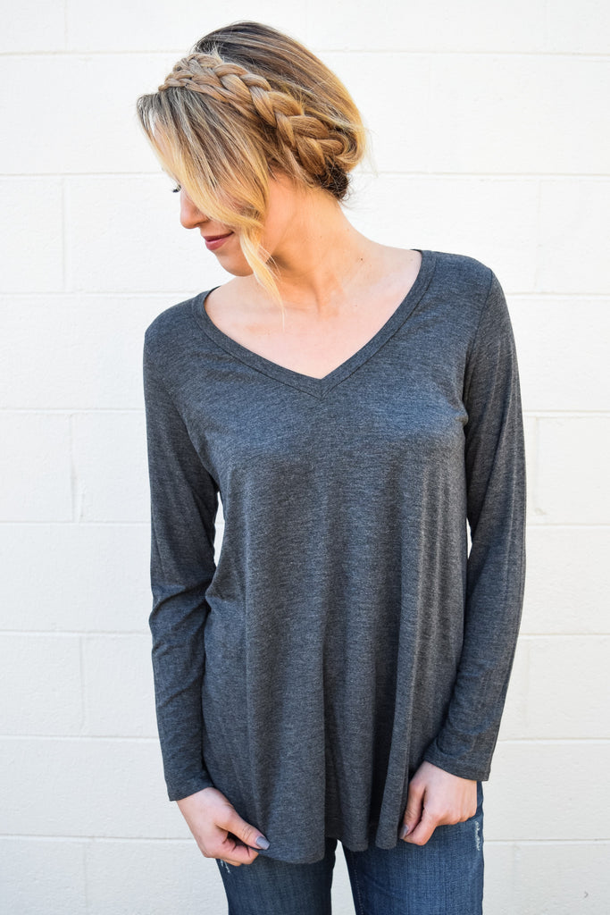 Trendy Fall Like A Feather Tunic Charcoal