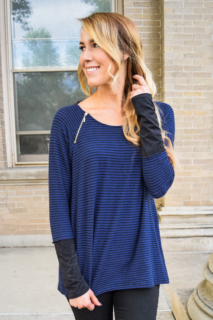 Womens Online Sweet and Sincere Navy Stripe Top
