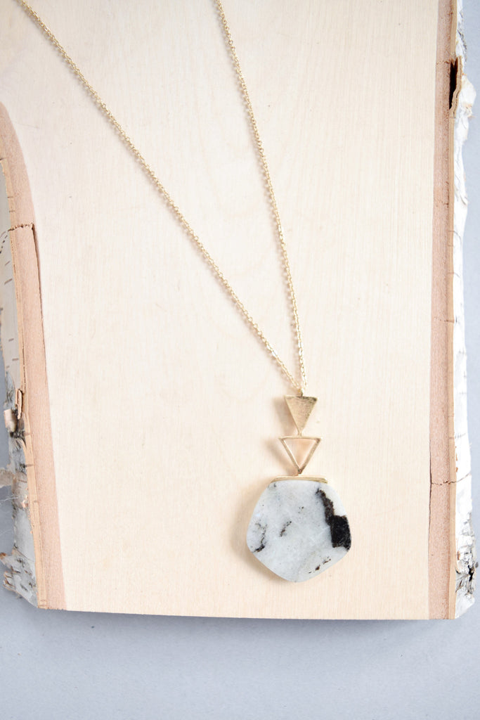 Womens Online geometric stone necklace grey