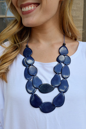 Trendy Online Tagua Nut Flat Necklace Navy